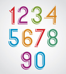Colorful cartoon slim rounded numbers with white outline.