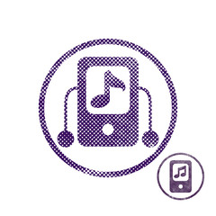 Mp3 player icon with halftone dots print texture.