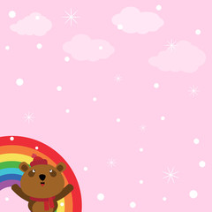 Brown bear in the sky with rainbow