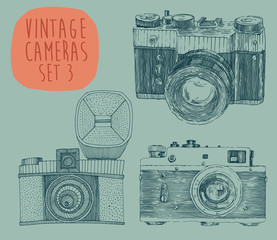 hipster photo camera set engraved retro style, hand drawn