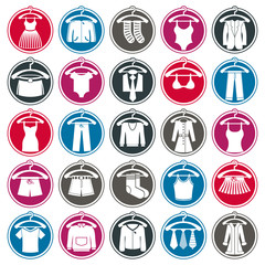 Retail clothing icons set, collection of apparel signs.
