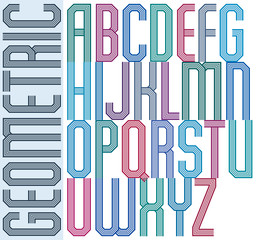 Retro colorful geometric font with parallel lines, decorative po