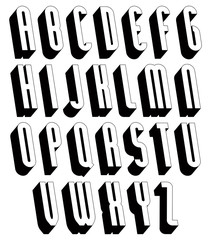 Black and white 3d font.