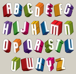 3d font, vector bold and heavy letters, geometric dimensional al