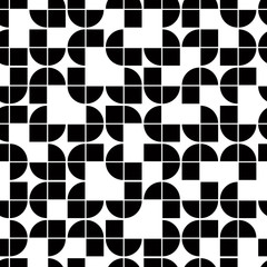 Black and white geometric seamless pattern, contrast squared bac