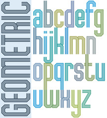 Retro colorful font with repeated lines, geometric poster letter
