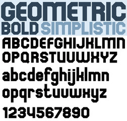 Poster black bold geometric font and numbers.