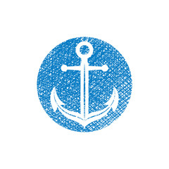 Anchor vector icon with hand drawn lines texture