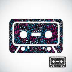 Decorative colorful vector cassette tape symbol filled with musi