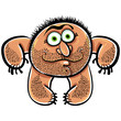 Funny cartoon monster with stubble, vector illustration.