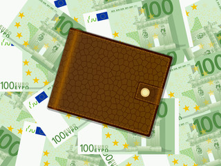 wallet on one hundred euro background