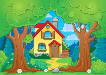 Tree theme with house
