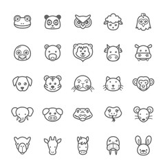 Set of Outline Stroke Animal Icons