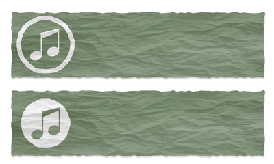 set of two banners with crumpled paper and music symbol