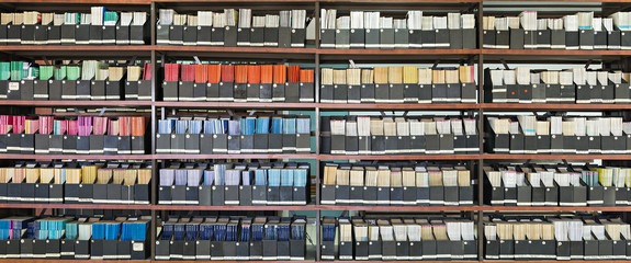 Library containing shelves with scientific journals