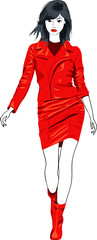 vector fashion Asian girl in a red leather suit