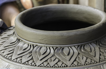 Carving clay for make earthenware, Thailand