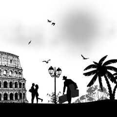 Couple silhouette in love in front of Colosseum in Rome