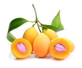 Closeup sweet Marian plum thai fruit isolated on white backgroun