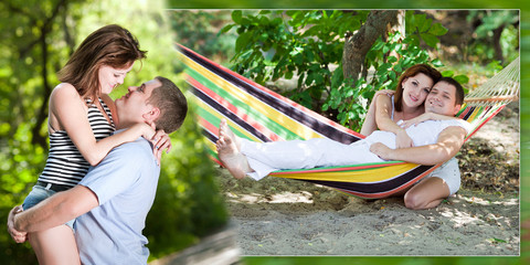 Collage - a loving couple on a beach in a hammock