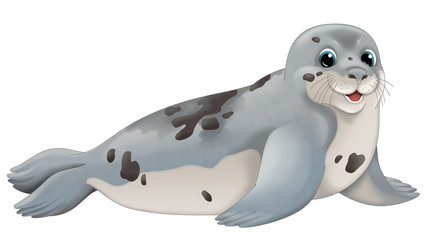 Cartoon animal - seal - illustration for children