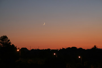 Beautiful sky with moon after sunset