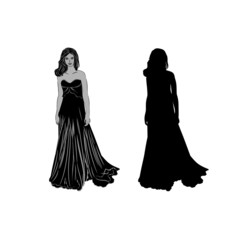 Silhouette of a girl in long dress vector illustration