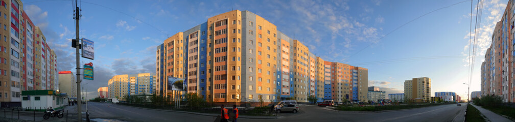 Nadym, Russia - July 10, 2008: the Panorama. The urban landscape