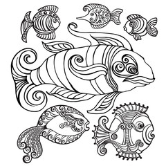 Abstract fishes in decorative style