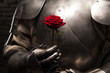 Knight giving a rose to lady - 67116930
