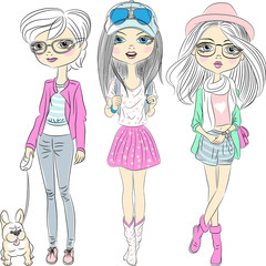 Vector set hipster fashionable girls