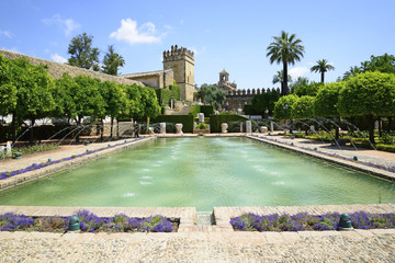 Courtyards of Alcazar of Cordoba, Andalucía, Spain.