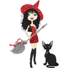 Vector cheerful beautiful girl dressed as a witch with a broom a