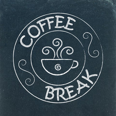 COFFEE BREAK stamp on chalkboard (espresso cappuccino latte)