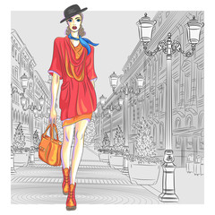 Vector attractive fashion girl goes for St. Petersburg