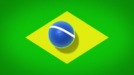 brazil football flag with animated ball