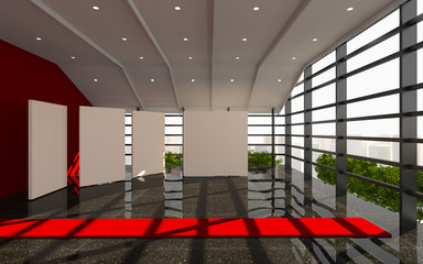 Red office interior modern
