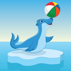 Sea calf Playing With Ball Vector Illustration