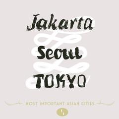 Asian Cities Set- Jakarta, Seoul, Tokyo