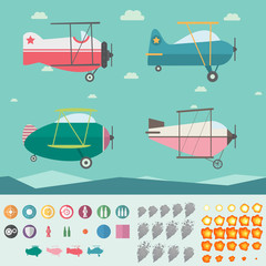 Plane Game Asset (Four Planes,Background,Icons,Smoke and Fire)