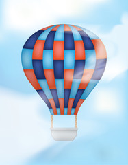 Hot Air Balloon with Blue and Red