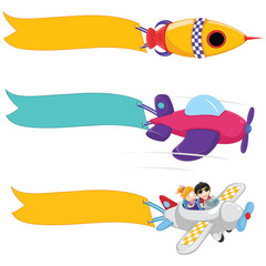 Planes With Banners Vector Set