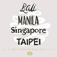Asian Cities Set- Bali, Manila, Taipei