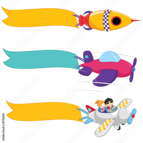 Planes With Banners Vector Set - 67118169