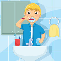 Vector Illustration Of A Little Boy Brushing Teeth