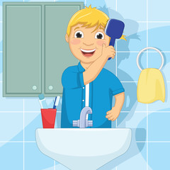 Vector Illustration Of A Little Boy Brushing Hair
