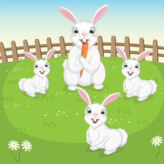 Vector Illustration Of Cute Rabbits