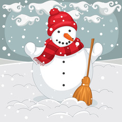 Vector Illustration Of A Snowman