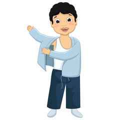 Boy Wearing Pajamas Vector Illustration