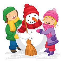 Vector illustration of Kids Making Snowman